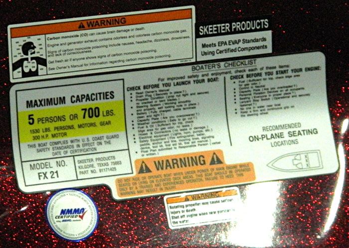 Cluster of warnings. 2014 Tulsa Boat Show. Skeeter.