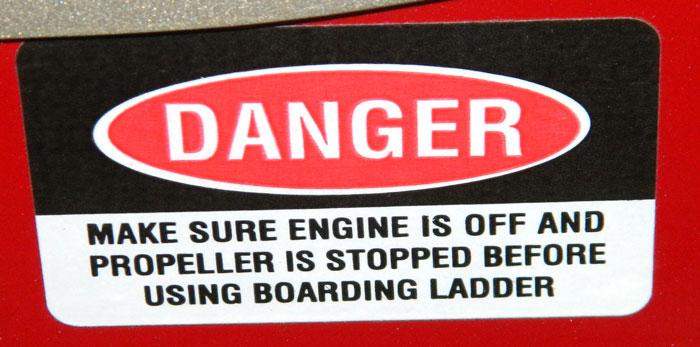 Ladder Danger warning. 2014 Tulsa Boat Show.