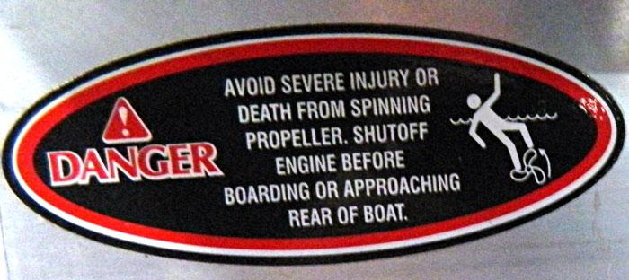 Multi warning, propeller warning. 2014 Tulsa Boat Show.