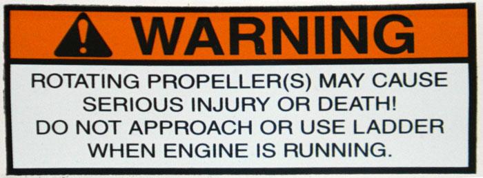 Propeller and ladder warning. 2014 Tulsa Boat Show.