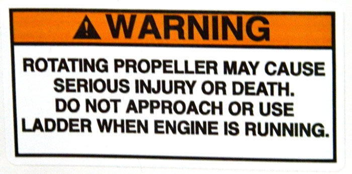 Propeller warning similar to NMMA warning. 2014 Tulsa Boat Show.