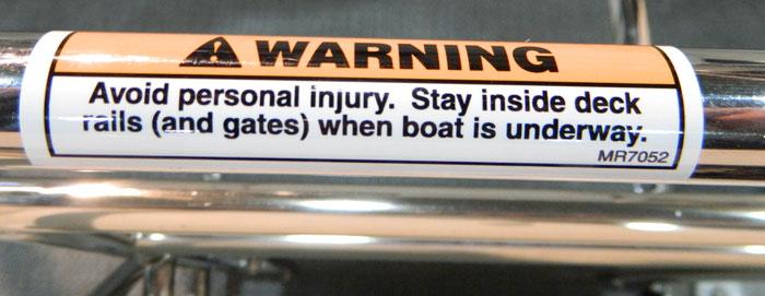 Deck Rails warning. 2014 Tulsa Boat Show.