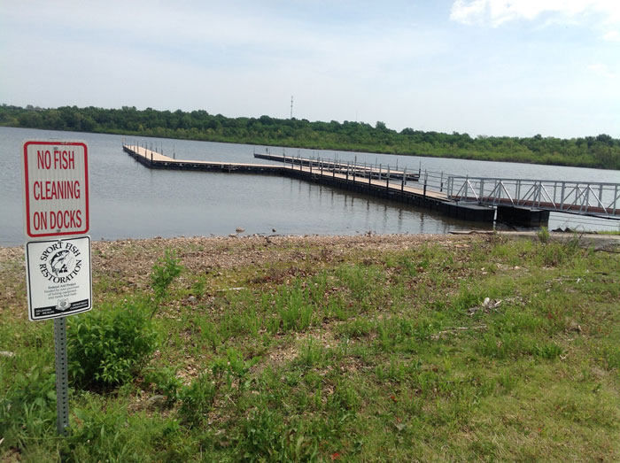 Docks at Wolf Creek boat ramp, Grand Lake, Grove Oklahoma in May 2015