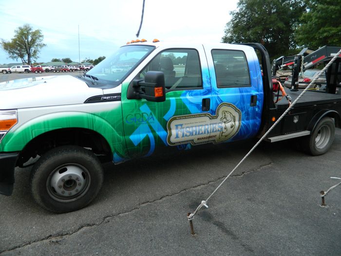 Fish trailer truck at Nichols Marine Tournament Series Championship Grand Lake September 2015