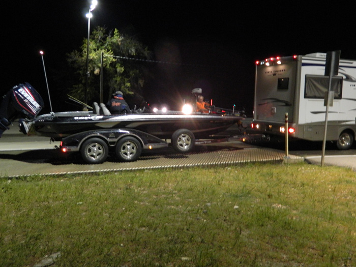Evinrude powered Ranger bass boat launches pre dawn at Nichols Marine Tournament Series Championship Grand Lake September 2015