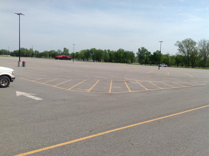 Large parking lot at Wolf Creek Park, Grand Lake, Grove Oklahoma