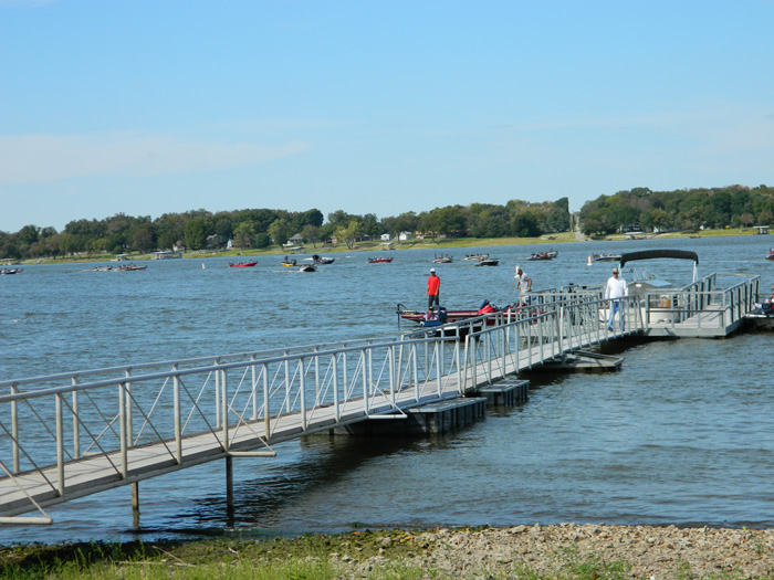 Lined up coming back for the weigh in. They are coming from left to right. Nichols Marine Tournament Series Championship, Grand Lake, September 2015.