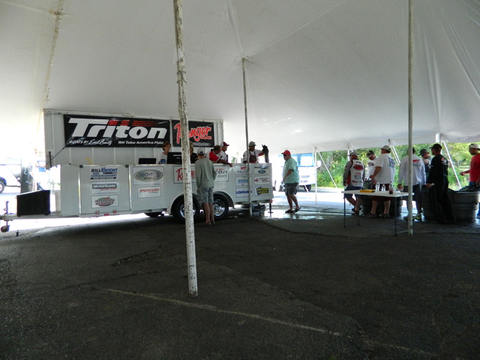 The weigh in stand, Nichols Marine Tournament Series Championship, Grand Lake, September 2015.