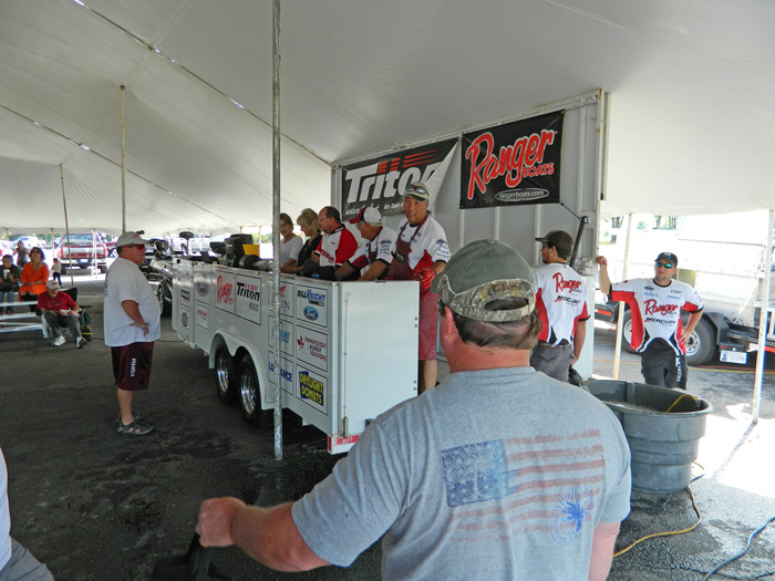 The weigh in stand up close, Nichols Marine Tournament Series Championship, Grand Lake, September 2015.