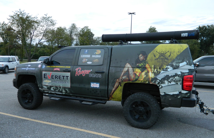 One of the ubiquitous angler and support vehicles displaying their supporters, Nichols Marine Tournament Series Championship, Grand Lake, September 2015.
