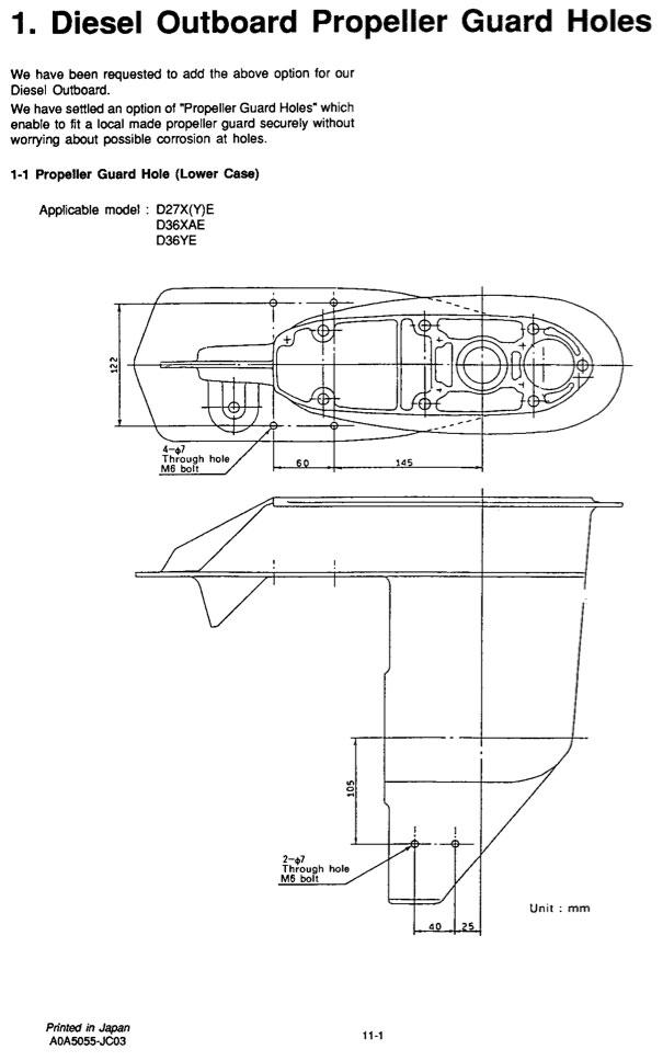 Yanmar Preforms Propeller Guard Mounting Holes